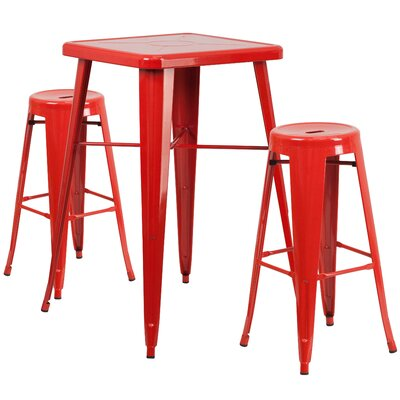 3 Piece Bar Table Set Finish: Red