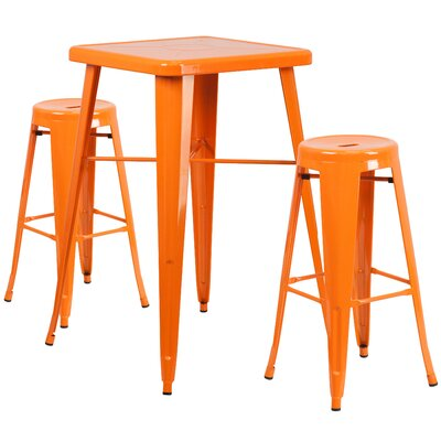 Linn 3 Piece Bar Table Set Finish: Orange