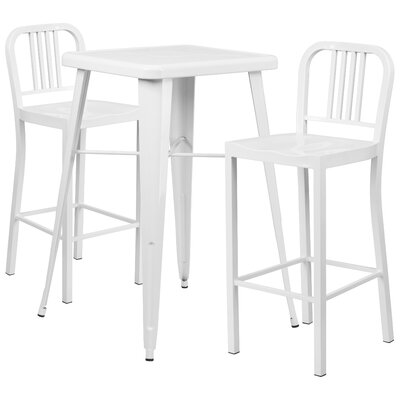 3 Piece Bar Table Set Finish: White