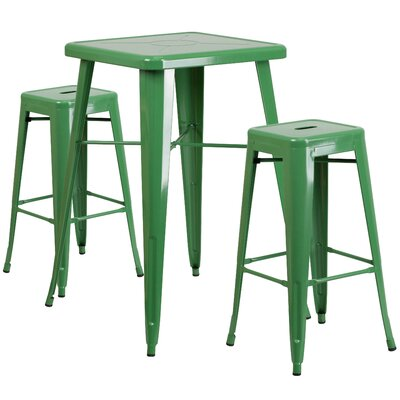Athens 3 Piece Bar Table Set Color: Green
