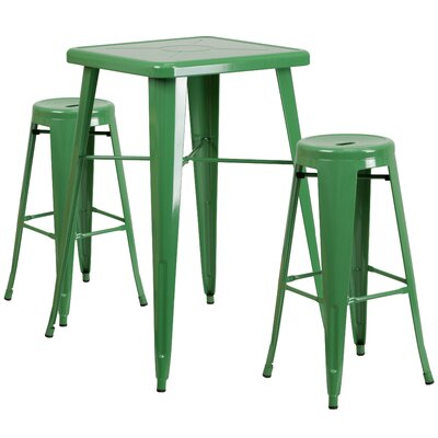 Linn 3 Piece Bar Table Set Finish: Green