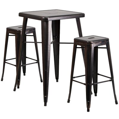 3 Piece Bar Table Set Finish: Black-Antique Gold
