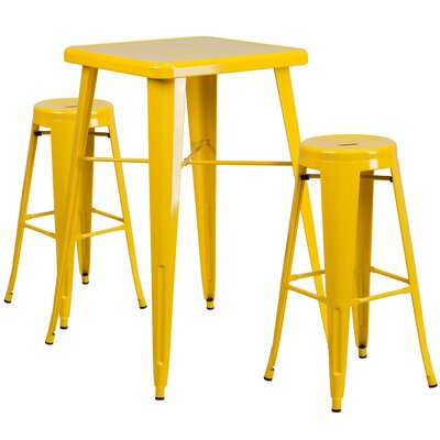 Linn 3 Piece Bar Table Set Finish: Yellow