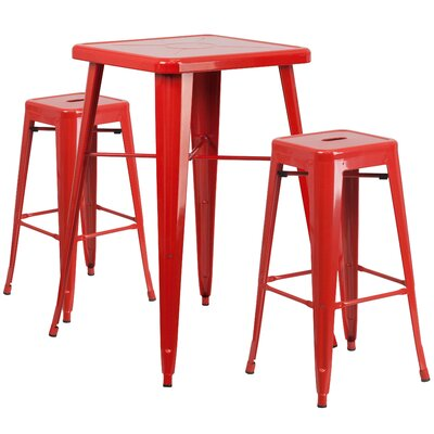 Athens 3 Piece Bar Table Set Color: Red