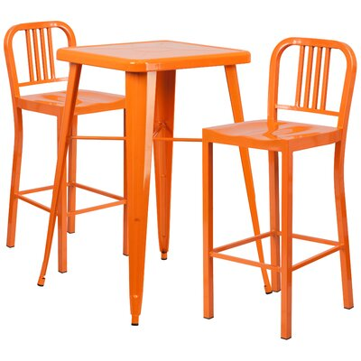 3 Piece Bar Table Set Finish: Orange