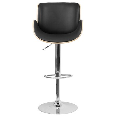 McBee Adjustable Height Swivel Bar Stool Upholstery: Beech
