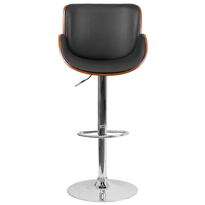 McBee Adjustable Height Swivel Bar Stool Upholstery: Walnut