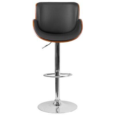 Adjustable Height Swivel Bar Stool Upholstery: Walnut