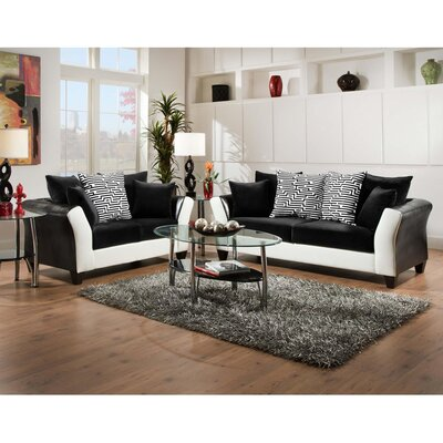 Dilorenzo Contemporary 2 Piece Wood Frame Living Room Set