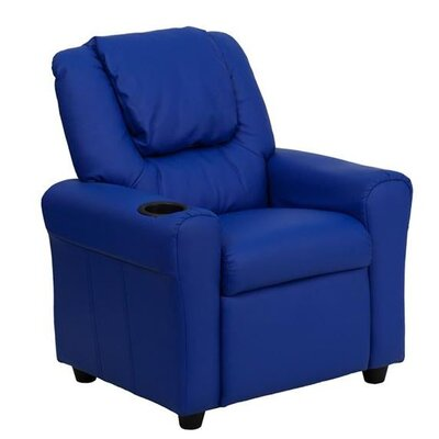 Contemporary Personalized Kids Recliner with Cup Holder Color: Blue DG-ULT-KID-+BLUE-EMB-GG