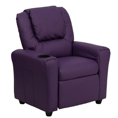 Contemporary Personalized Kids Recliner with Cup Holder Color: Purple DG-ULT-KID-+PUR-EMB-GG