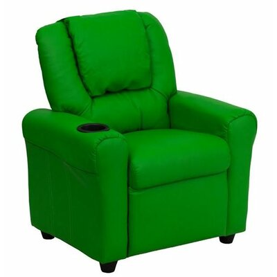 Contemporary Personalized Kids Recliner with Cup Holder Color: Green DG-ULT-KID-+GRN-EMB-GG