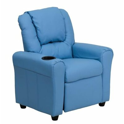 Contemporary Personalized Kids Recliner with Cup Holder Color: Light Blue DG-ULT-KID-+LTBLUE-EMB-GG