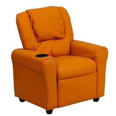 Contemporary Personalized Kids Recliner with Cup Holder Color: Orange DG-ULT-KID-+ORANGE-EMB-GG