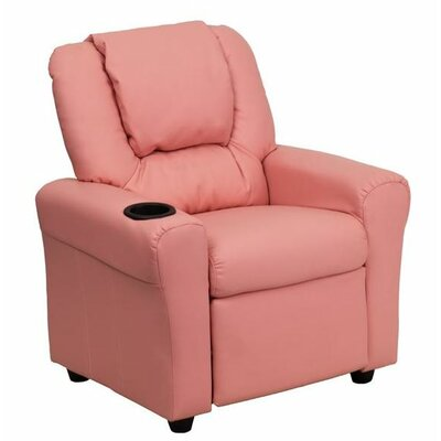 Contemporary Personalized Kids Recliner with Cup Holder Color: Pink DG-ULT-KID-+PINK-EMB-GG