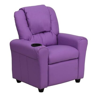 Contemporary Personalized Kids Recliner with Cup Holder Color: Lavender DG-ULT-KID-+LAV-EMB-GG