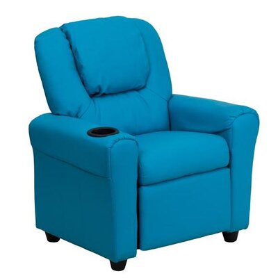 Contemporary Personalized Kids Recliner with Cup Holder Color: Turquoise DG-ULT-KID-+TURQ-EMB-GG