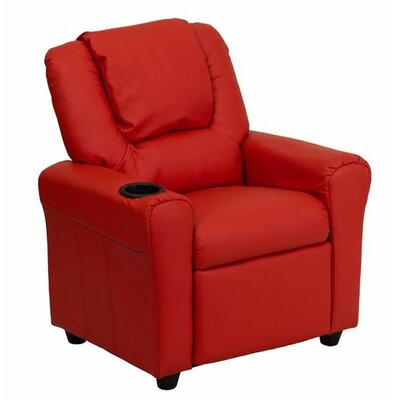 Contemporary Personalized Kids Recliner with Cup Holder Color: Red DG-ULT-KID-+RED-EMB-GG