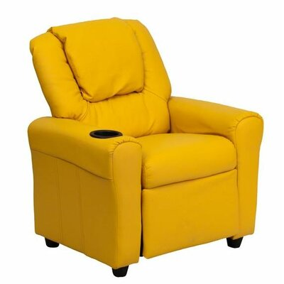 Contemporary Personalized Kids Recliner with Cup Holder Color: Yellow DG-ULT-KID-+YEL-EMB-GG