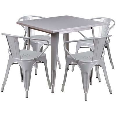 Markeshia 5 Piece Dining Set Finish: Silver