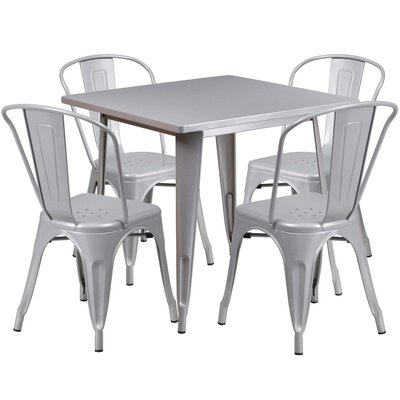 5 Piece Dining Set Finish: Silver