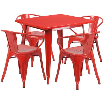 Markeshia 5 Piece Dining Set Finish: Red