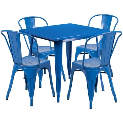 Betsey 5 Piece Dining Set Finish: Blue