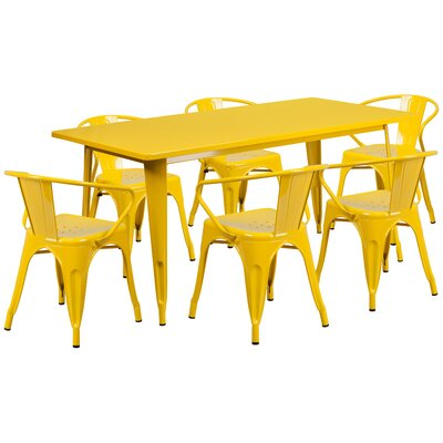 Fuad 7 Piece Dining Set Finish: Yellow