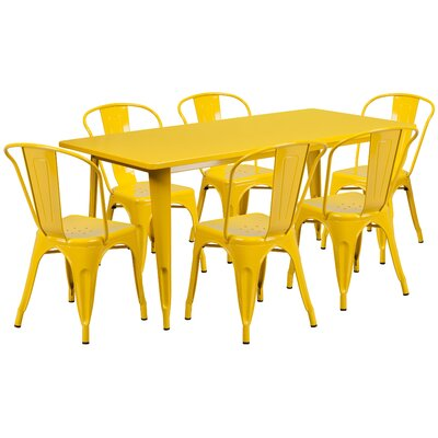 7 Piece Dining Set Finish: Yellow