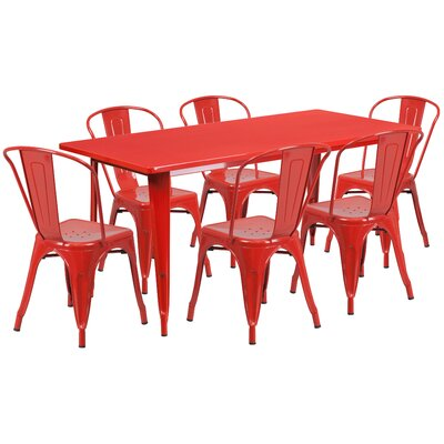 7 Piece Dining Set Finish: Red