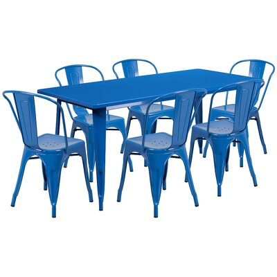 Kingwai 7 Piece Dining Set Finish: Blue