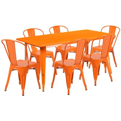 7 Piece Dining Set Finish: Orange