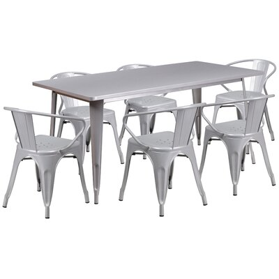 Fuad 7 Piece Dining Set Finish: Silver