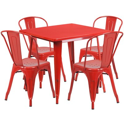 5 Piece Dining Set Finish: Red
