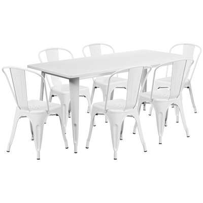 Kingwai 7 Piece Dining Set Finish: White