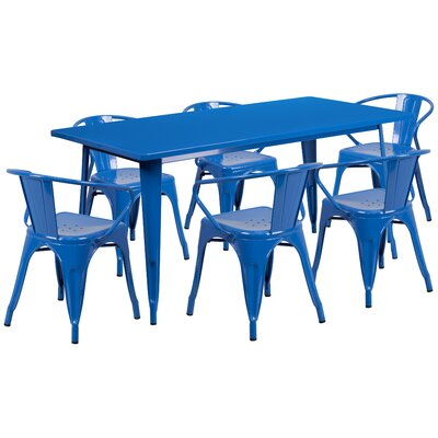 7 Piece Dining Set Finish: Blue