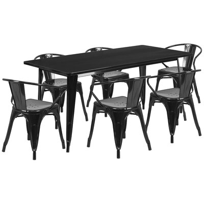 7 Piece Dining Set Finish: Black