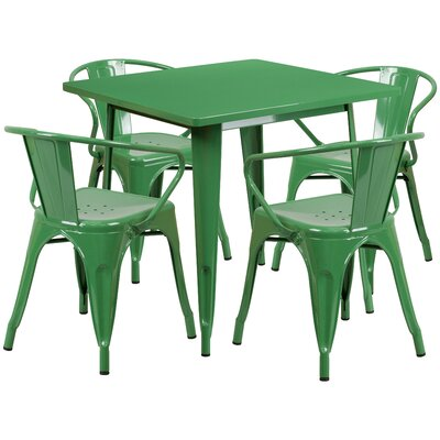 Markeshia 5 Piece Dining Set Finish: Green