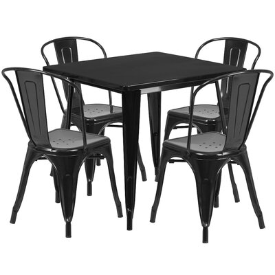Betsey 5 Piece Dining Set Finish: Black