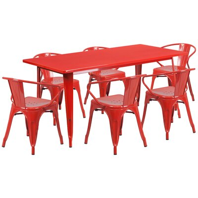 Fuad 7 Piece Dining Set Finish: Red