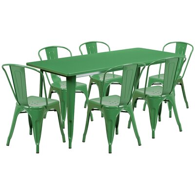 7 Piece Dining Set Finish: Green
