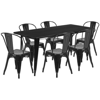 Kingwai 7 Piece Dining Set Finish: Black