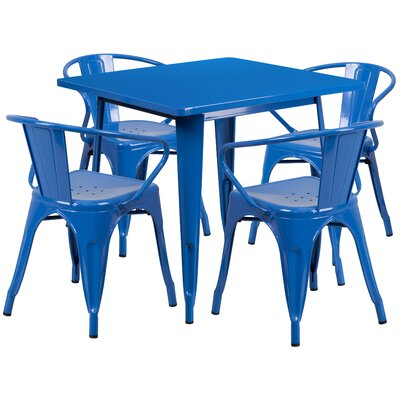 5 Piece Dining Set Finish: Blue