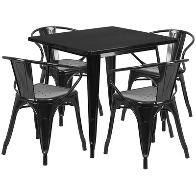 Markeshia 5 Piece Dining Set Finish: Black