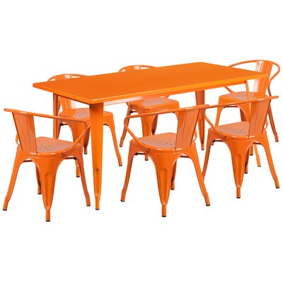 Fuad 7 Piece Dining Set Finish: Orange