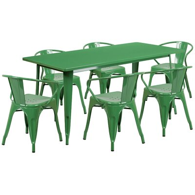 Fuad 7 Piece Dining Set Finish: Green