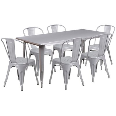 7 Piece Dining Set Finish: Silver