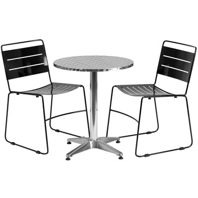 3 Piece Bistro Set Table Size: 27.5 W x 27.5 D, Finish: Black