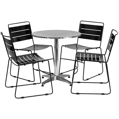 5 Piece Dining Set Table Size: 27.5 W x 27.5 D, Finish: Black