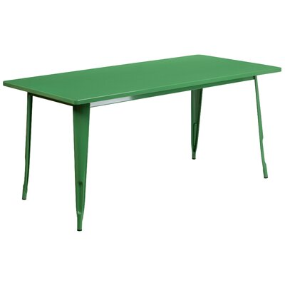 Garnet 31.5 X 63 RECTANGULAR BLACK METAL INDOOR-OUTDOOR TABLE Color: Green